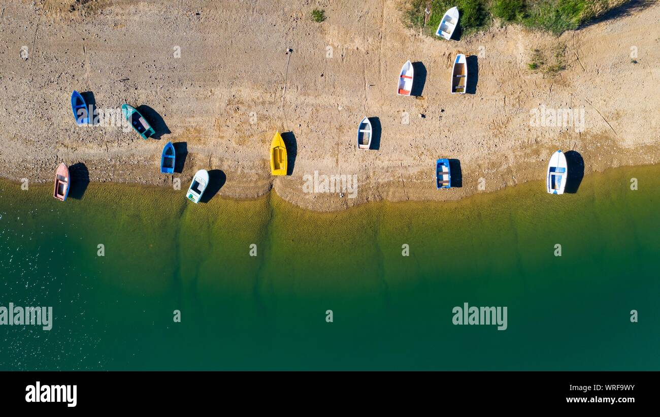 Aerial view of boats on the beach. Lokve lake in Croatia. Stock Photo