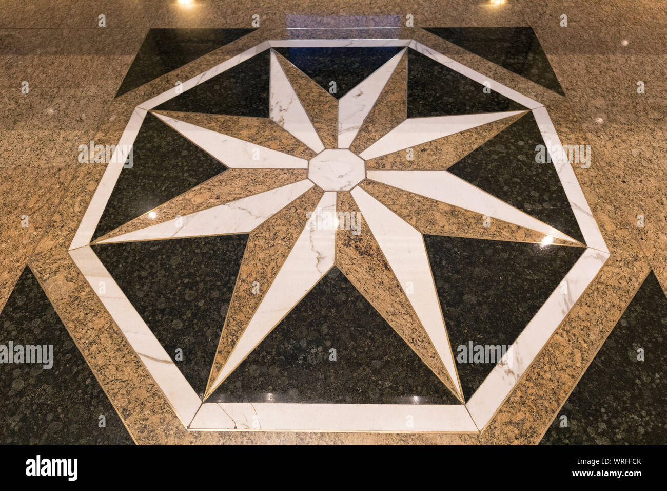 Big White Star At Marble Floor Decor Stock Photo Alamy