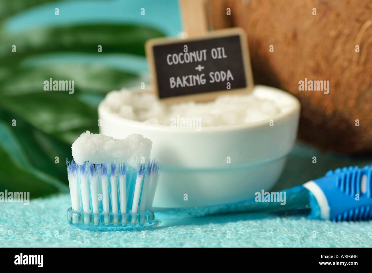 Coconut Oil And Baking Soda In A Bowl With A Toothbrush Homemade