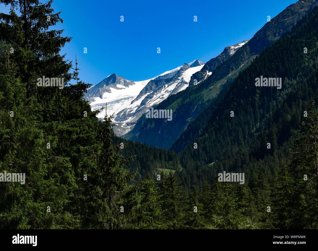 view from Untersulzbach valley towards peak of Mt. Grossvenediger at Hohe Tauern national park, Austria Stock Photo