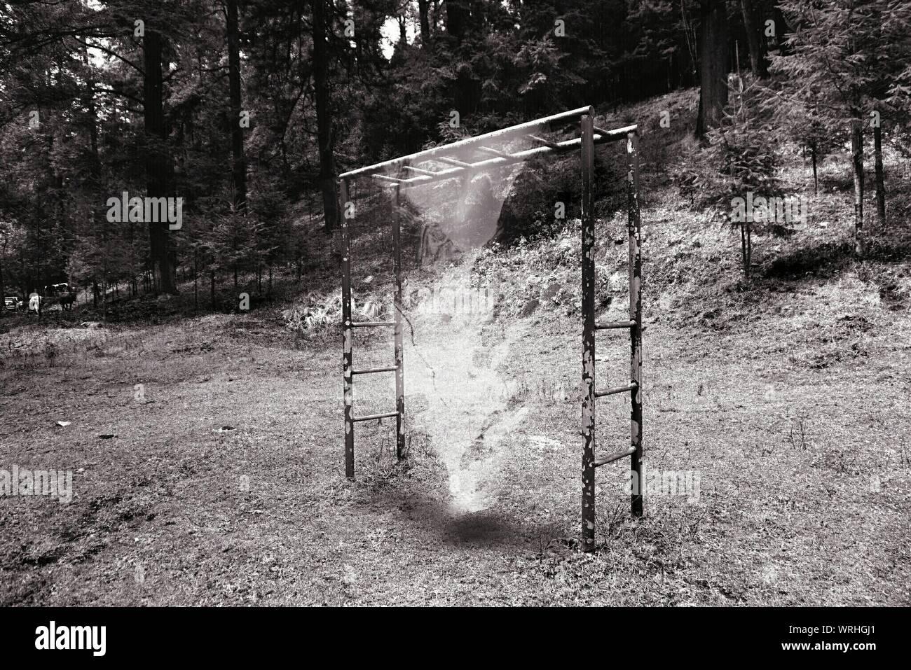 Digital Composite Of Smoke Emitting From Playground Stock Photo