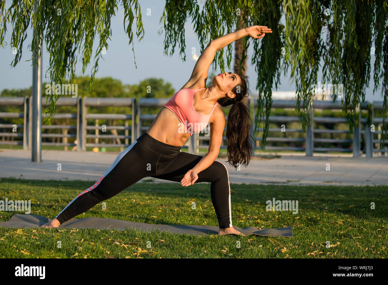 Latin Woman Does Yoga Exercises In A Park In Madrid Balance And Concentration Stock Photo Alamy