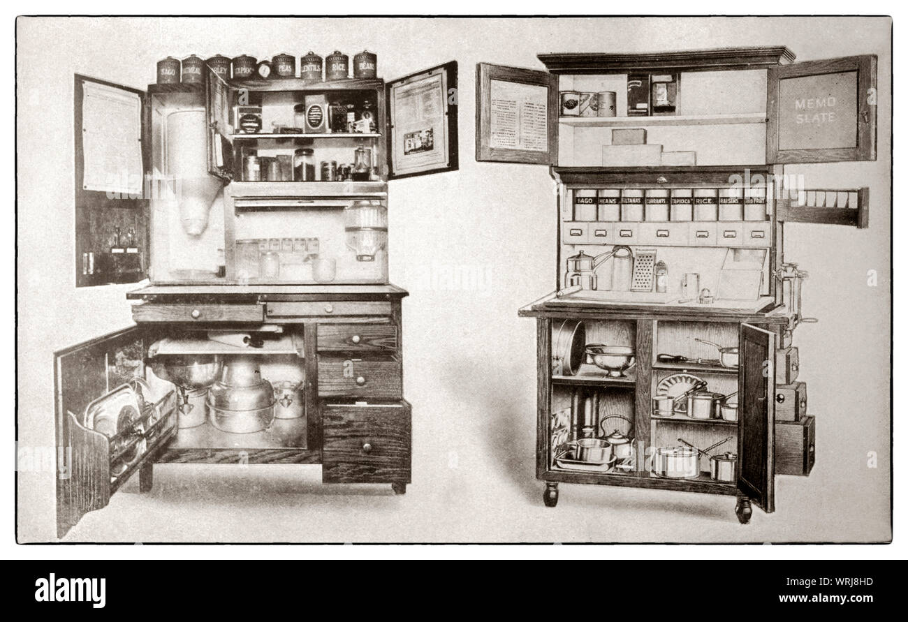 "The latest kichenware displayed at the beginning of the 1930s in Mrs Beeton's ""All About Cookery"" 1930 Edition. These kitchen cabinets were designed to hold ingredients and offer a convenient working surface. Stock Photo"