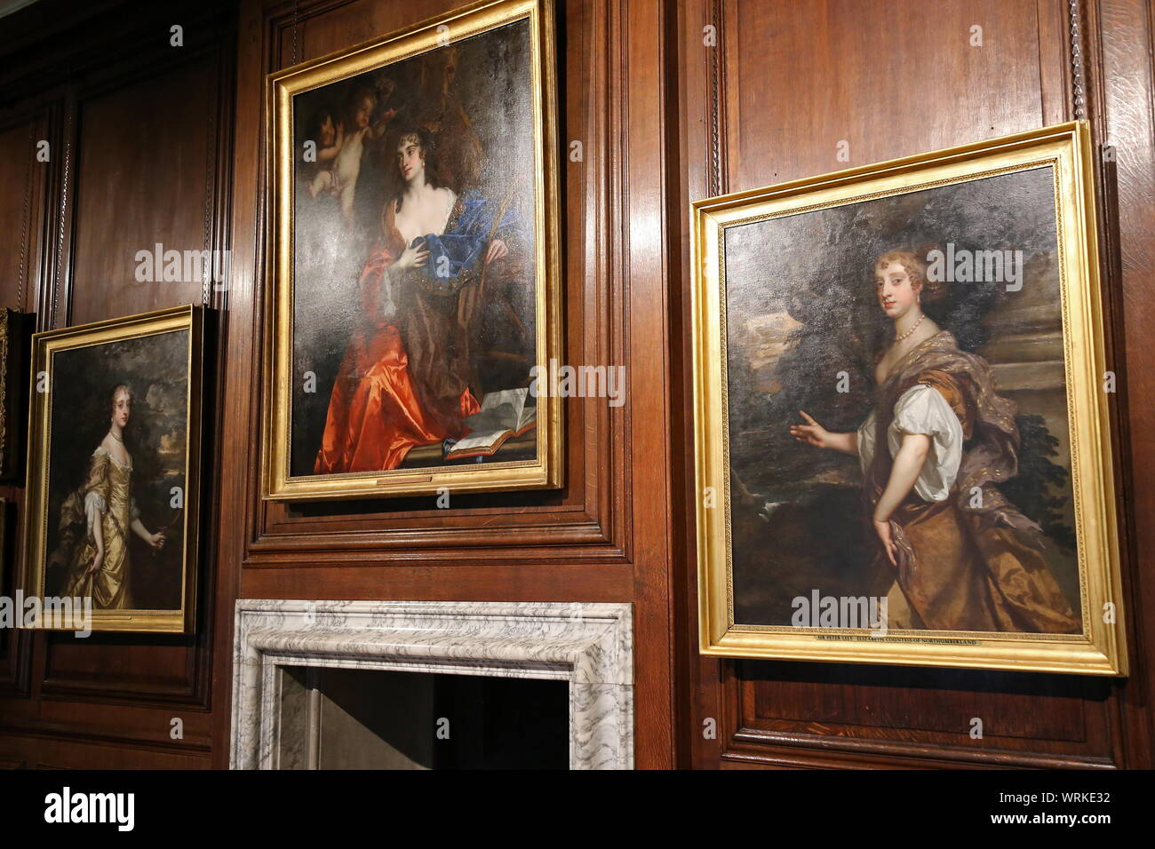 'Windsor Beauties' by Sir Peter Lely, Communication Gallery, Hampton Court Palace, East Molesey, Surrey, England, Great Britain, UK, Europe Stock Photo