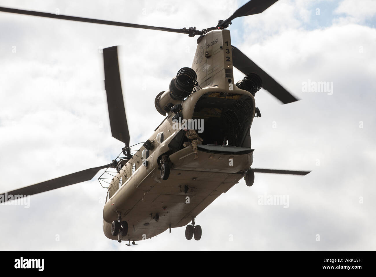 London, UK. 7 September, 2019. A military helicopter lands outside ExCel London during the sixth day of Stop The Arms Fair protests against DSEI, the Stock Photo