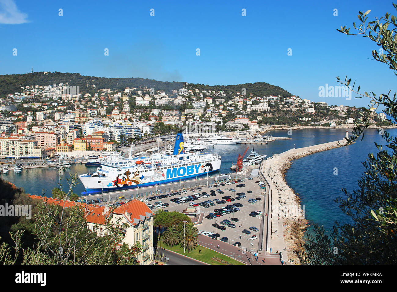 NICE, FRANCE - JUNE 23, 2016: Moby cruise ferry in the port of Nice, Cote d'Azur Stock Photo