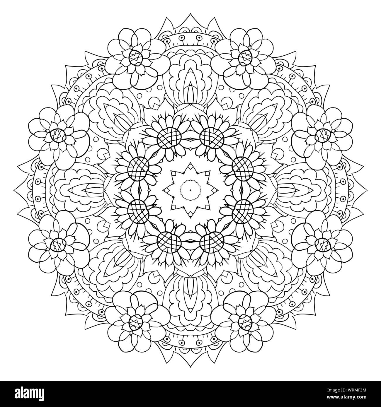 Oriental coloring pattern. Traditional round ornament