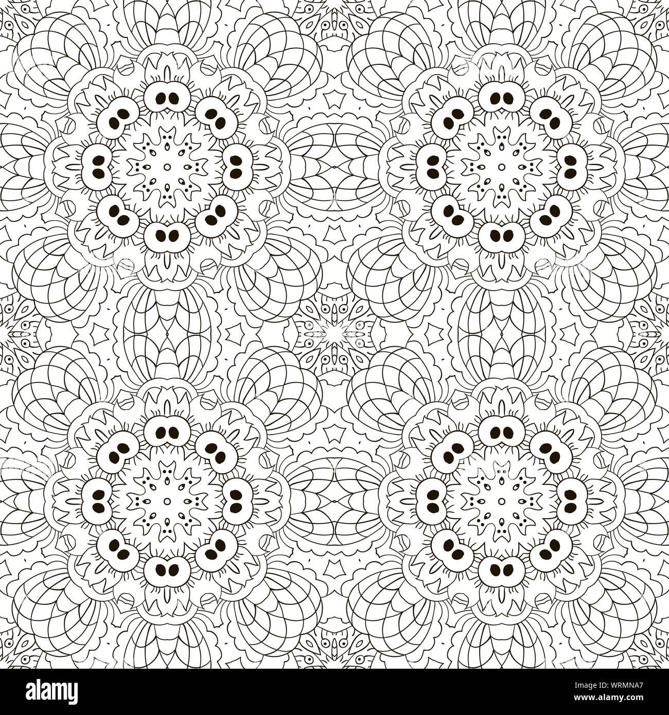 Mandala. Zentangl seamless ornament. Relax. Meditation ...