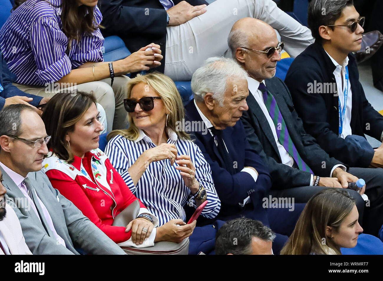 New York Usa 08th Sep 2019 Fashion Designer Ralph Lauren And Wife Ricky Anne Loew Beer Watch Rafael Nadal Of Spain Against Daniil Medvedev Of Russia In The Men S Singles Final At Arthur