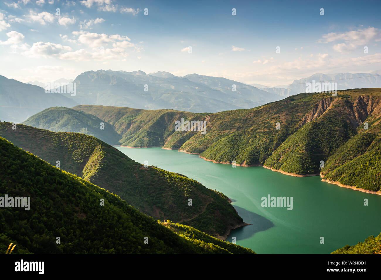 Fierza reservoir in Albania between Kukes and Fierze Stock Photo