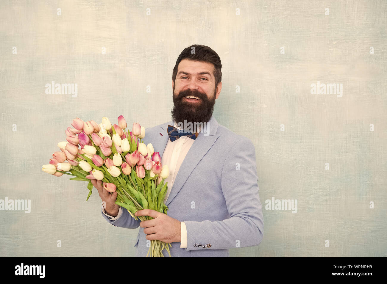 Birthday Greetings Best Flowers For Girlfriend Flowers For Her Man Bearded Suit Bow Tie Hold Tulips Bouquet Gentleman Making Romantic Surprise For Her Flowers Delivery Gentleman Romantic Date Stock Photo Alamy