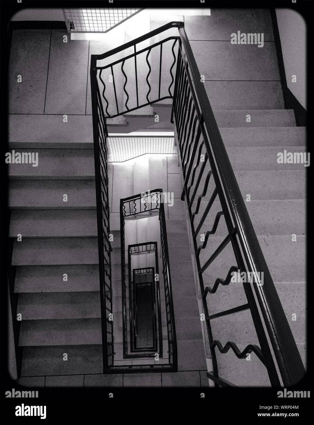 High Angle View Of Staircase With Wrought Iron Railing Of Residential Building Stock Photo Alamy
