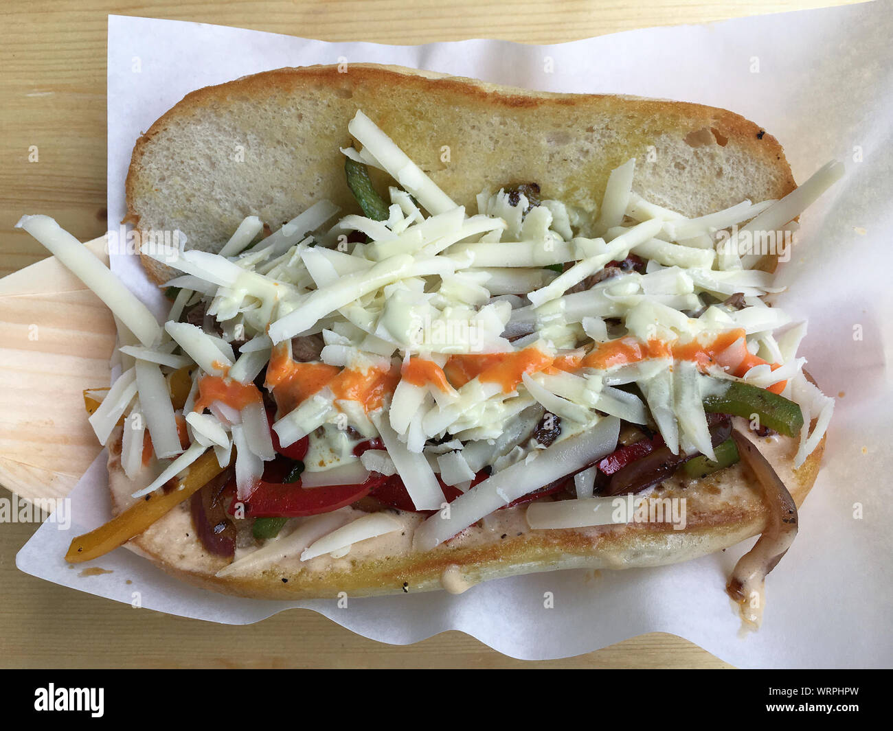 Close Up Of Philadelphia Cheese Steak Sandwich On Plate Stock Photo Alamy
