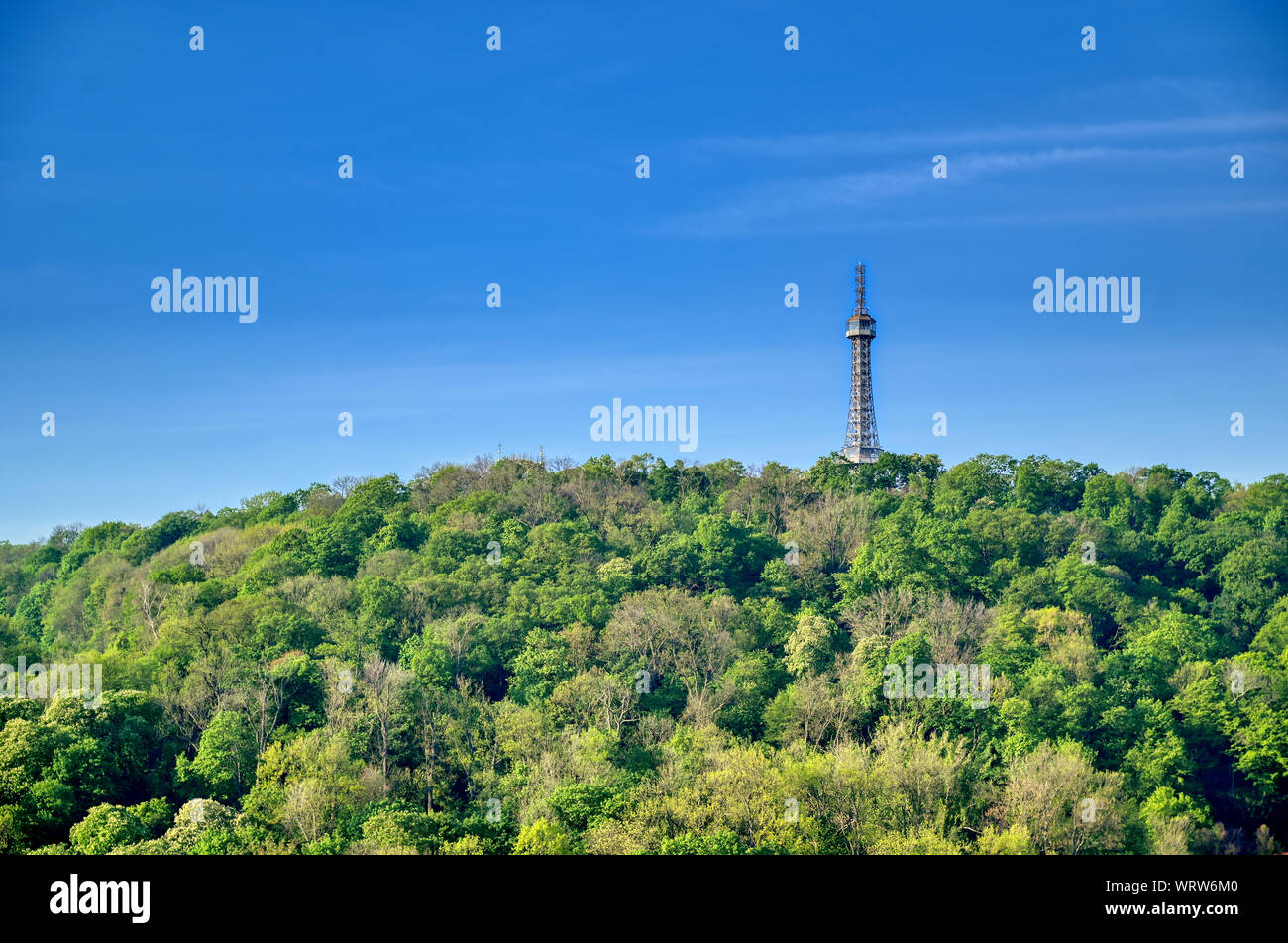 The Petrin Lookout Tower on Petrin Hill in Prague, Czech Republic. Stock Photo