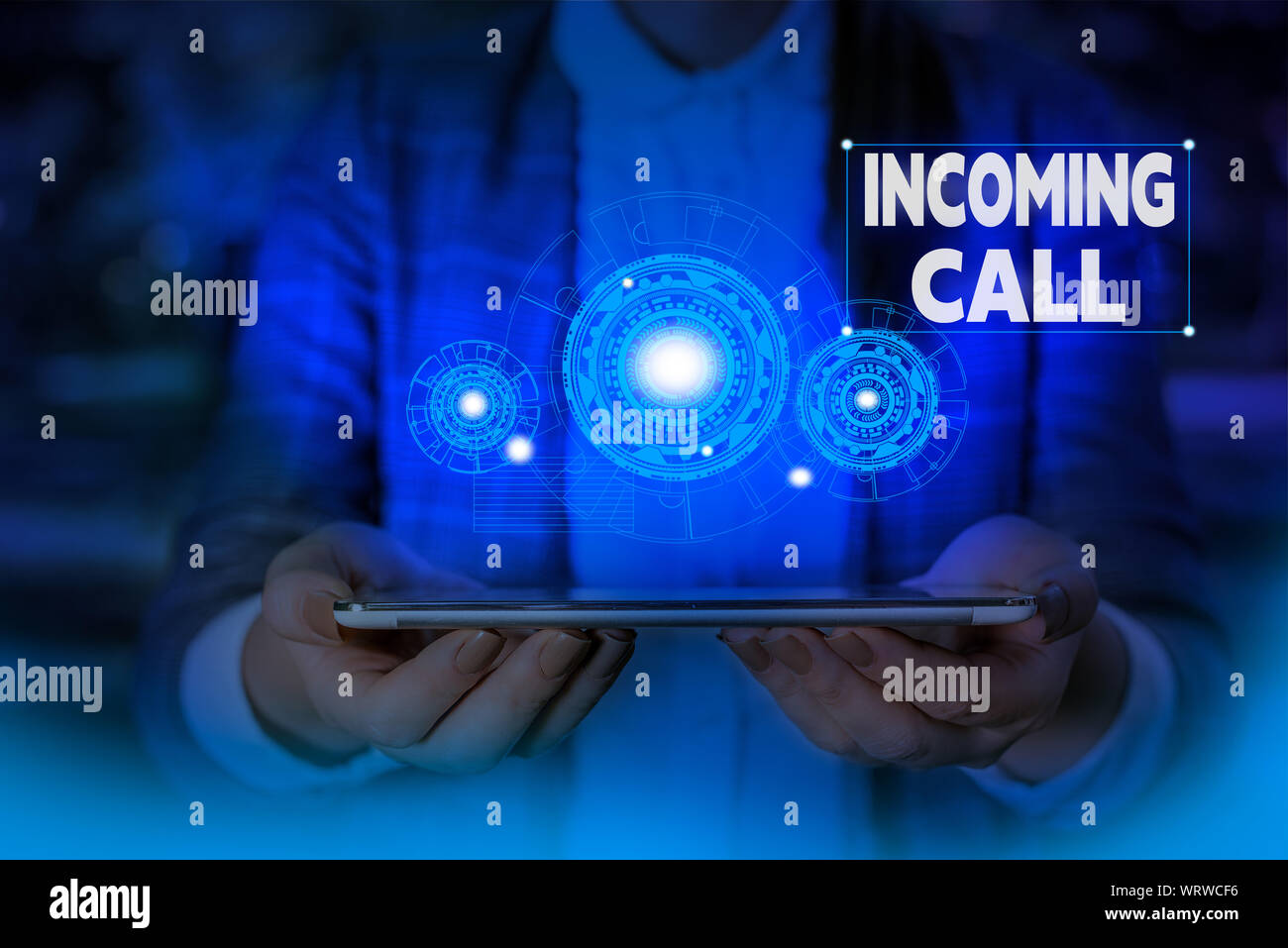 Handwriting text writing Incoming Call. Conceptual photo Inbound Received Caller ID Telephone Voicemail Vidcall Woman wear formal work suit presenting Stock Photo
