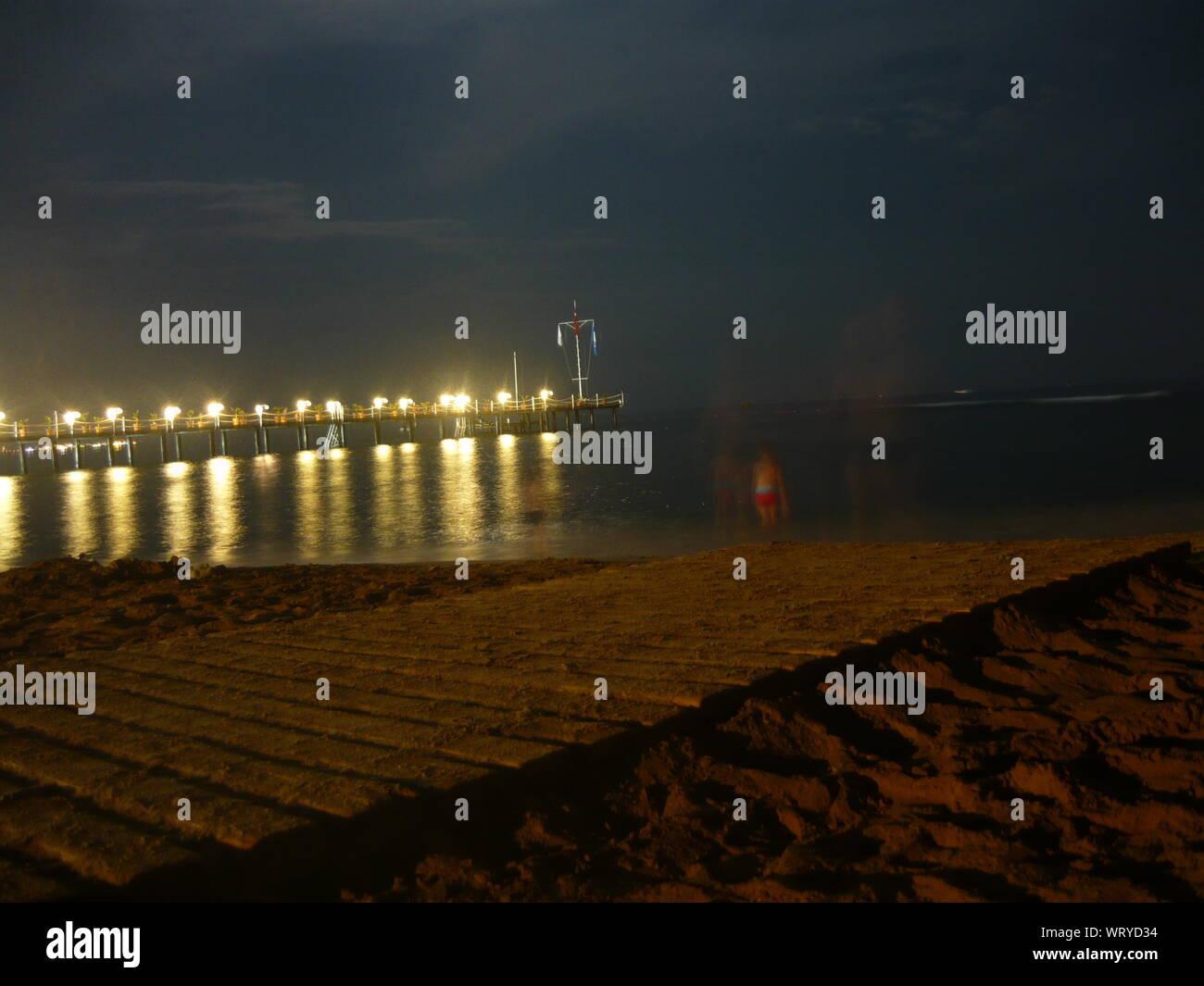 Illuminated Bridge At Night Stock Photo