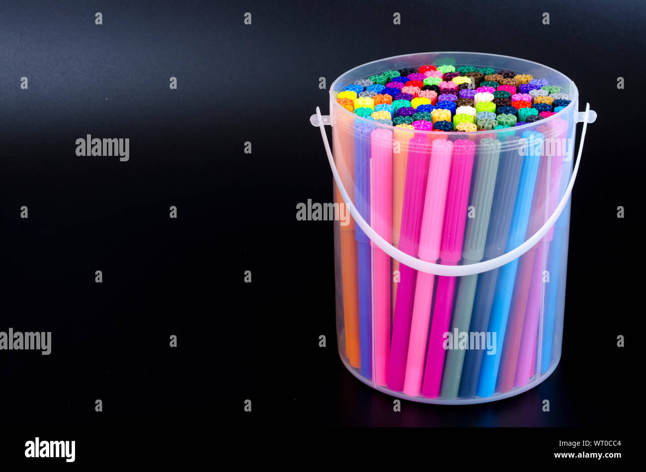 Many colored markers in package. Studio Photo Stock Photo
