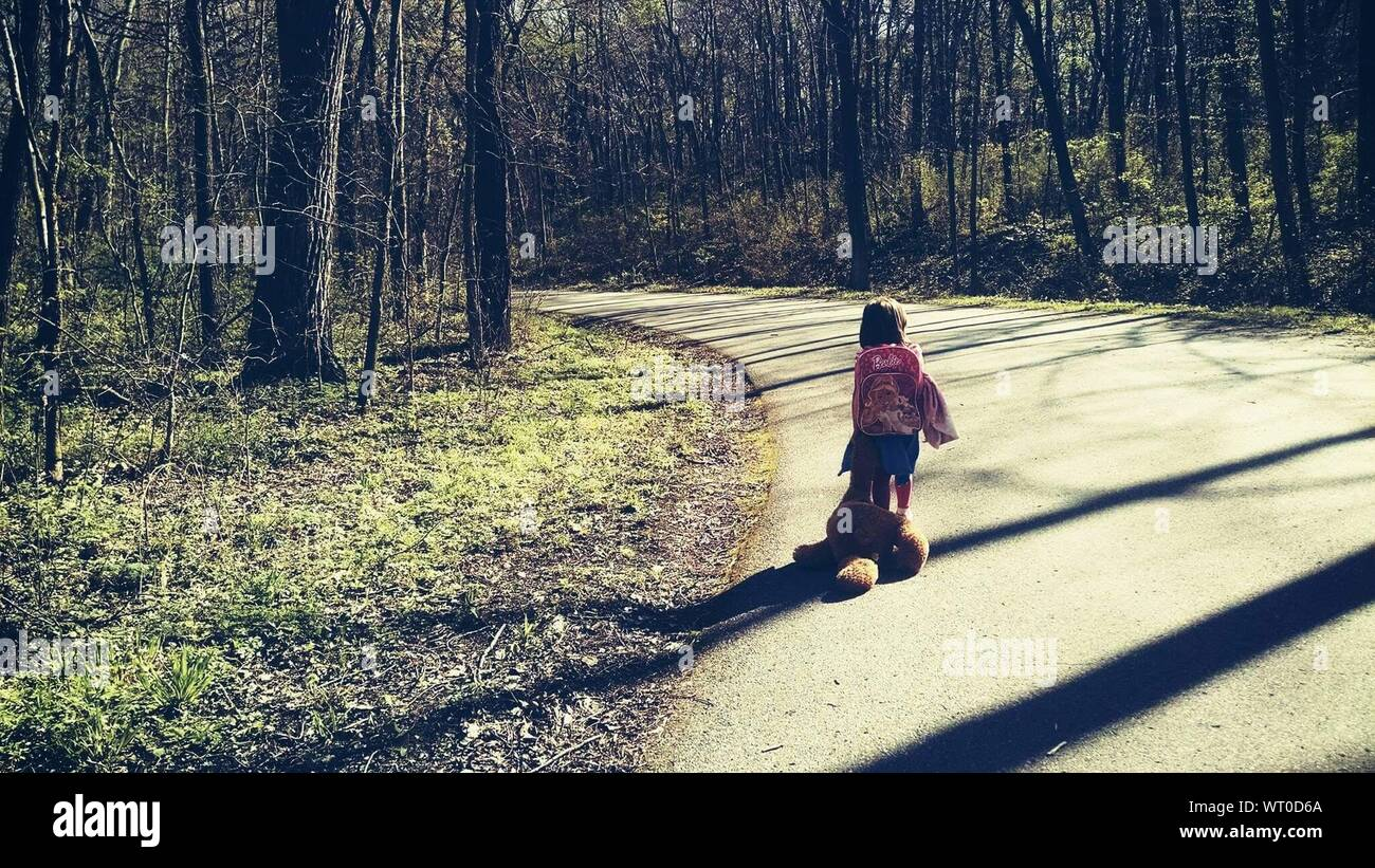 Rear View Of Girl Carrying Stuffed Toy While Walking On Road Amidst Trees Stock Photo