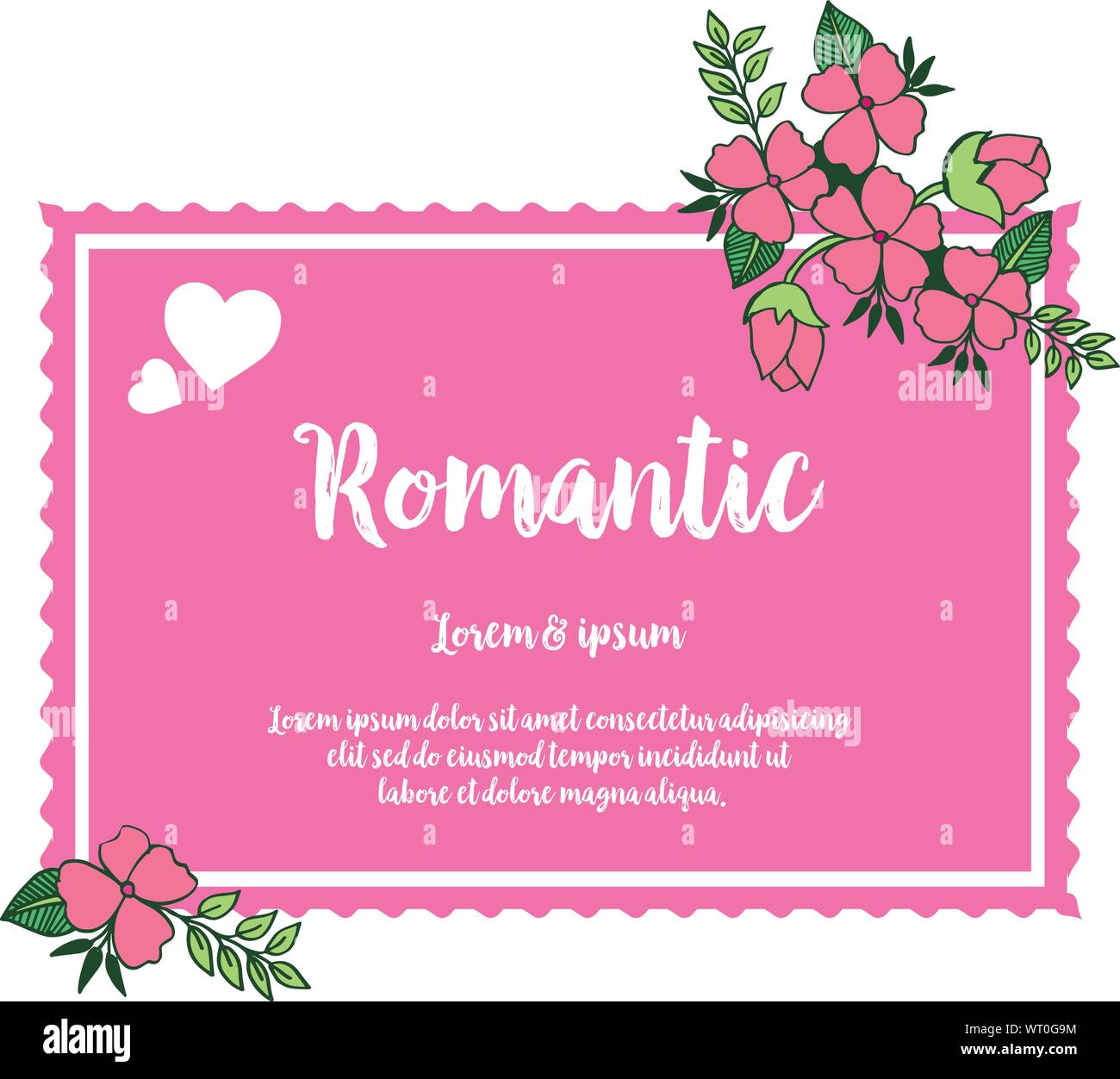 vintage wedding card romantic with pink flower frame on a white background vector stock vector image art alamy alamy