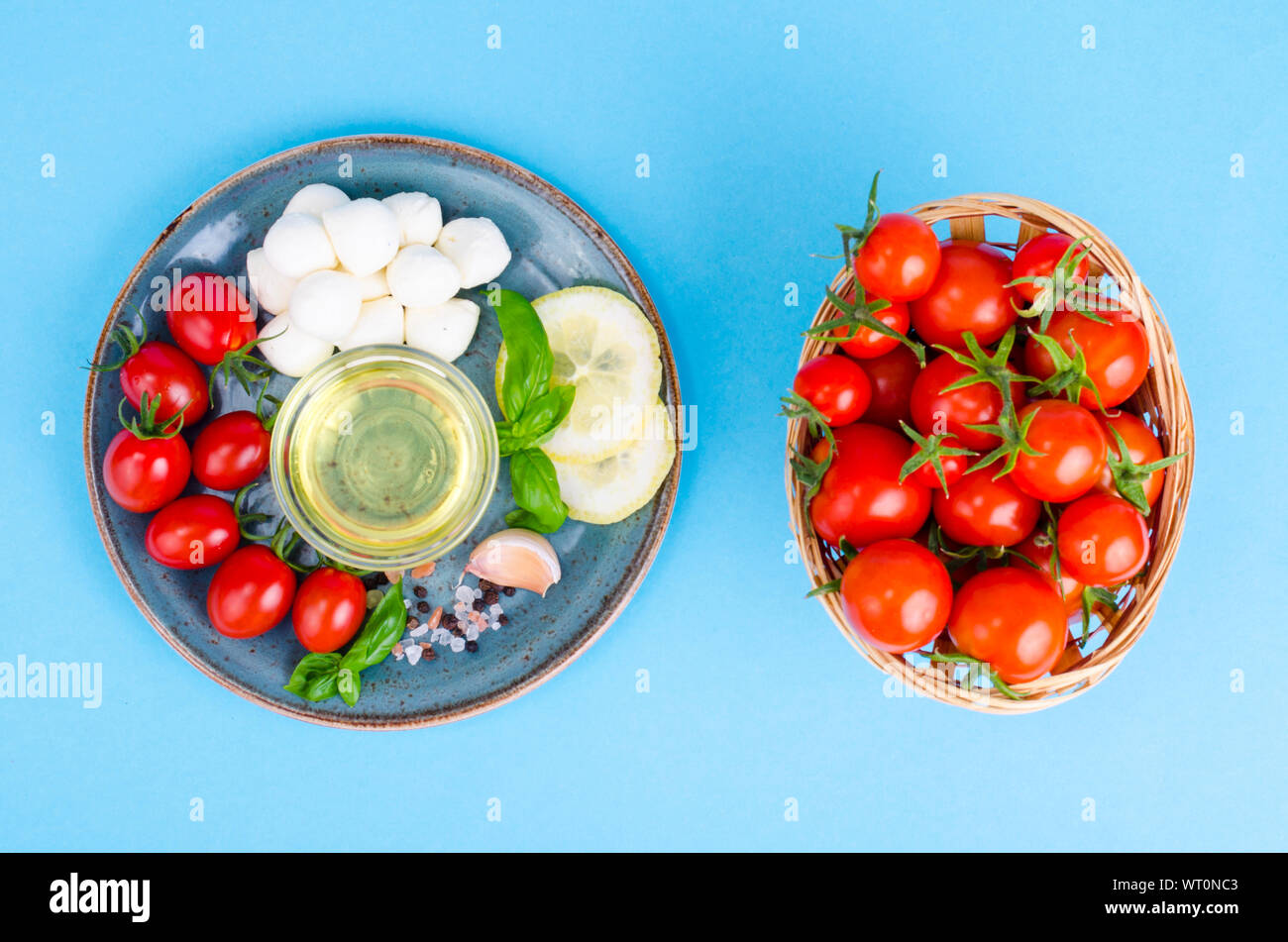 Set of products for making caprese. Studio Photo Stock Photo