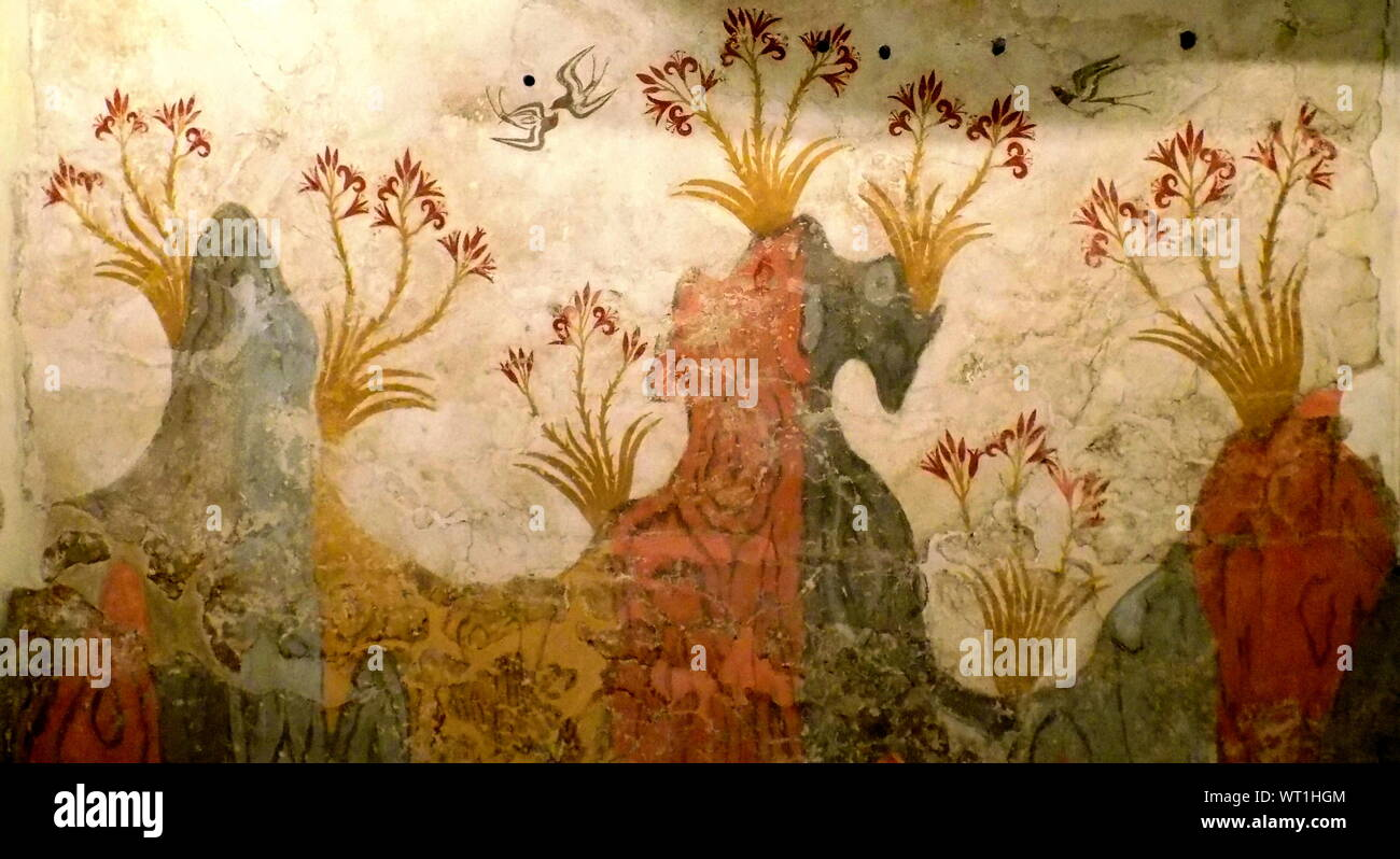 mosaic, fresco, ancient, Greece, Minoic, Mycenaean Stock Photo