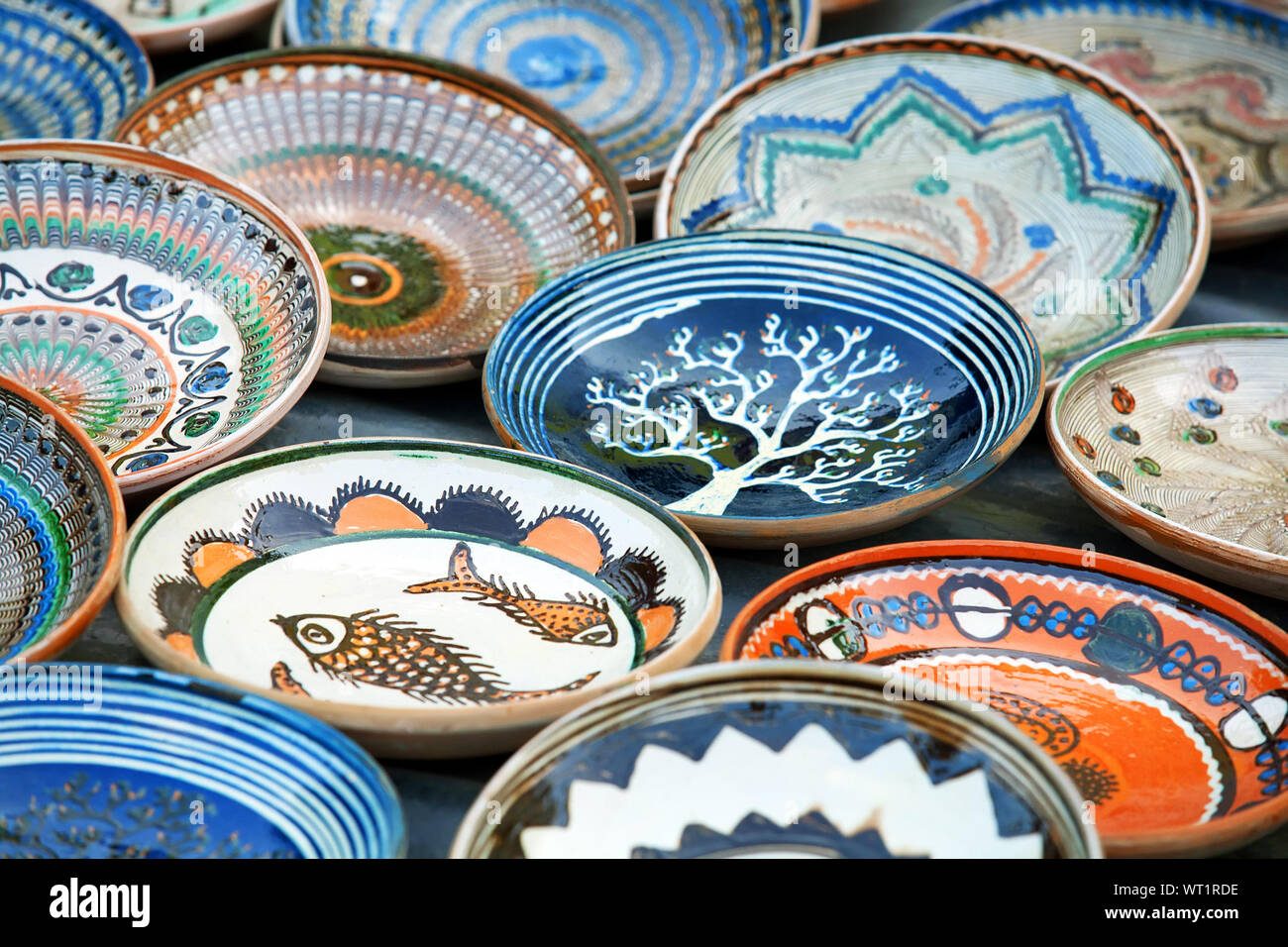 Plates For Sale >> High Angle View Of Romanian Traditional Ceramic Plates For