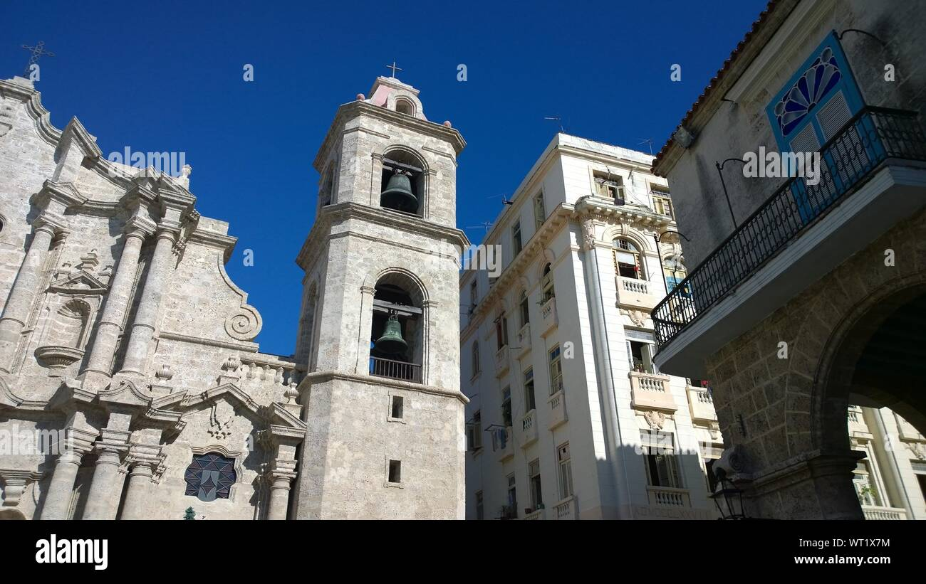 Low Angle View Of Plaza De La Catedral And Buildings In City Stock Photo