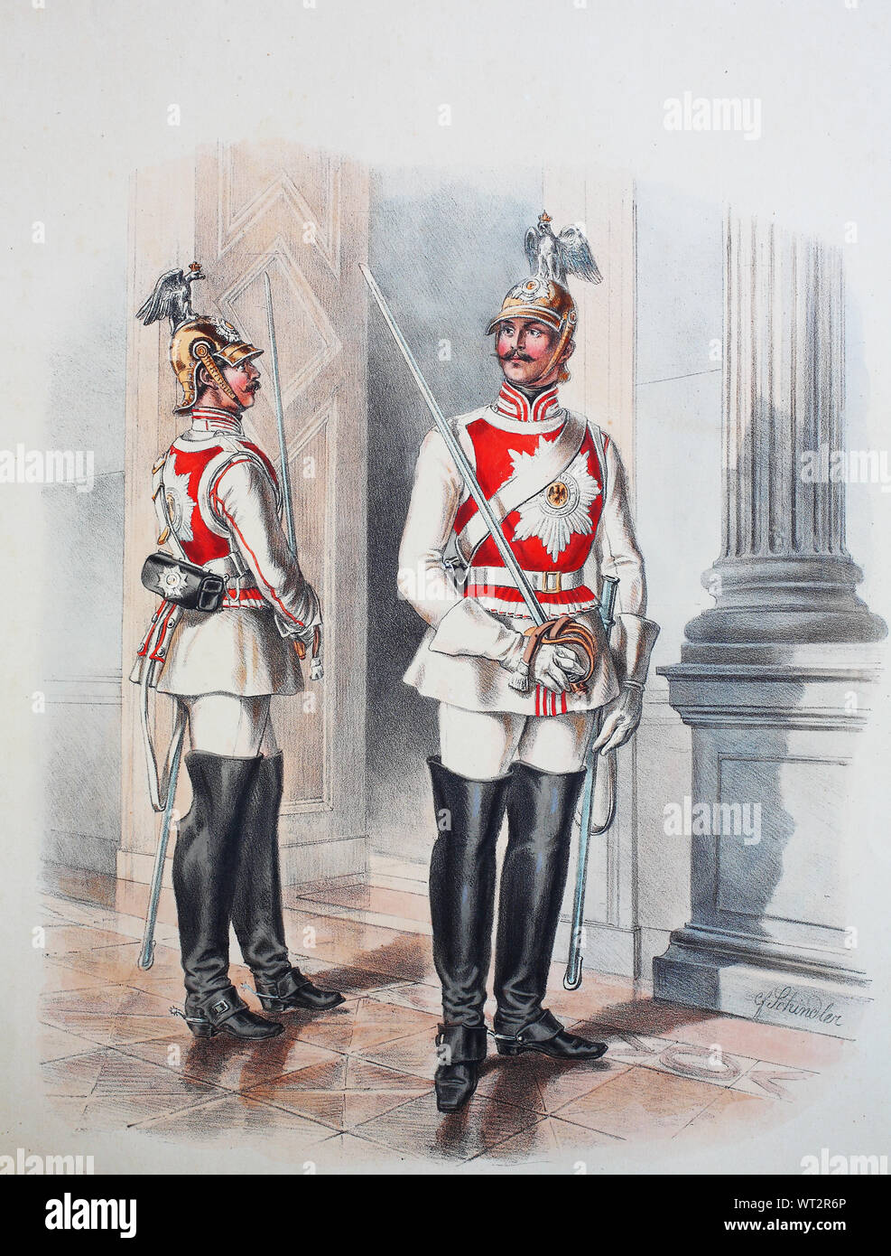 Royal Prussian Army, Guards Corps, Gardes du Corps, personal bodyguard of the king of Prussia, Preußens Heer, preussische Garde, Garde du Corps in Galauniform, Digital improved reproduction of an illustration from the 19th century Stock Photo
