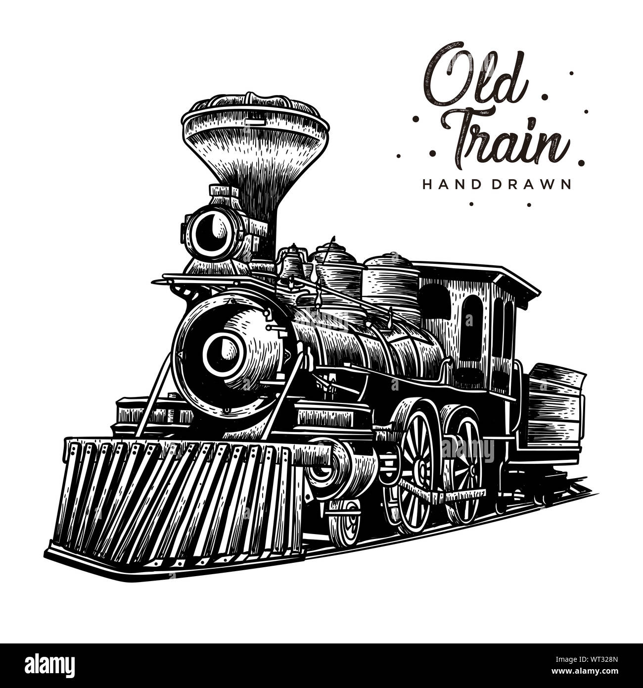 Old Train Hand Drawn Vintage Logo Rustic Style Stock Photo Alamy