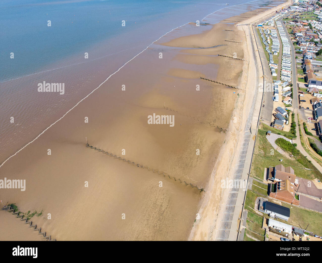 Aerial photo of the British seaside town of Hunstanton in Norfolk showing the coastal area and beach and alsop the caravan holiday park. Stock Photo