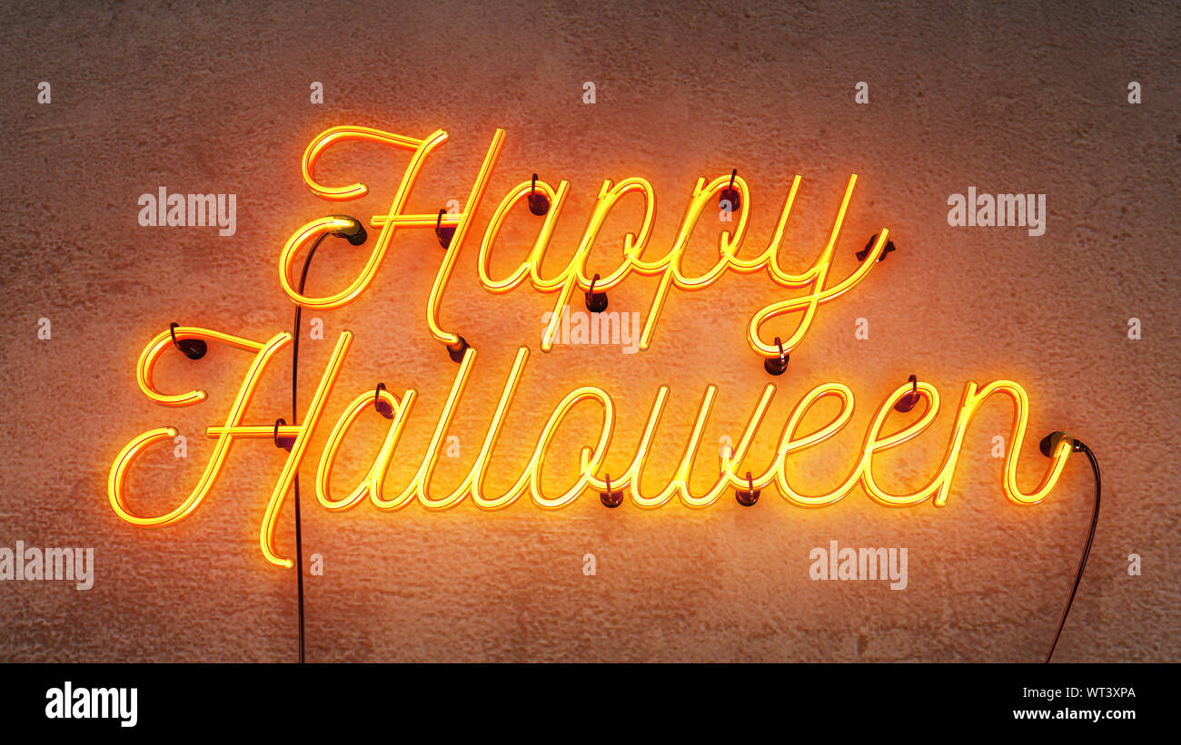 Neon Sign That Says The Word Happy Halloween In Bright Yellow Orange Colours On A Grunge Concrete Wall Background Stock Photo Alamy
