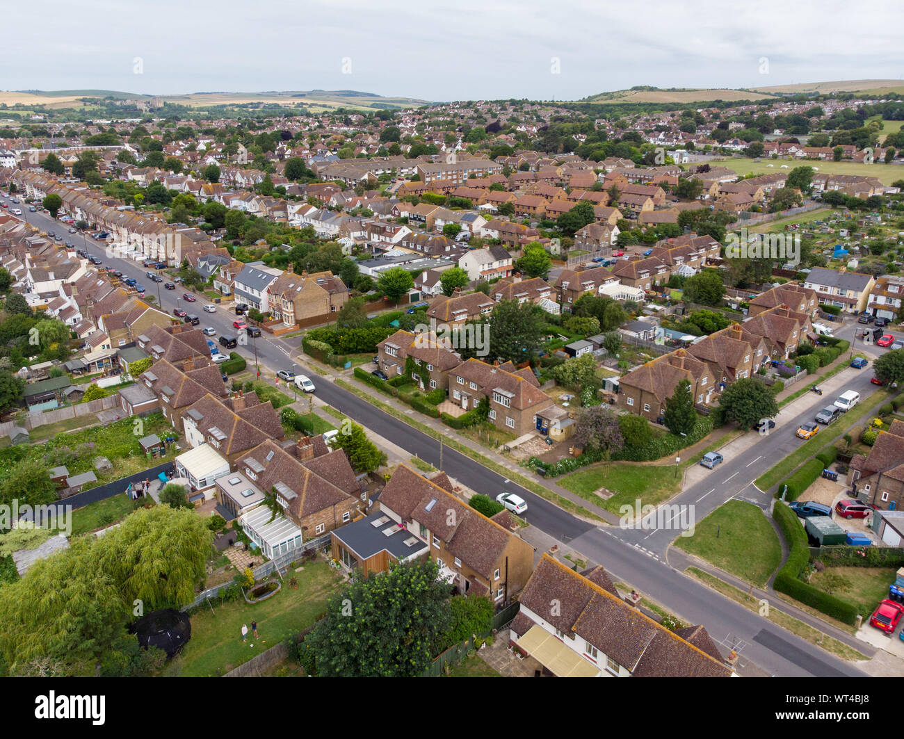 Aerial photo of the town of Shoreham-by-Sea, a seaside town and port in West Sussex, England UK, showing typical housing estates and businesses taken Stock Photo