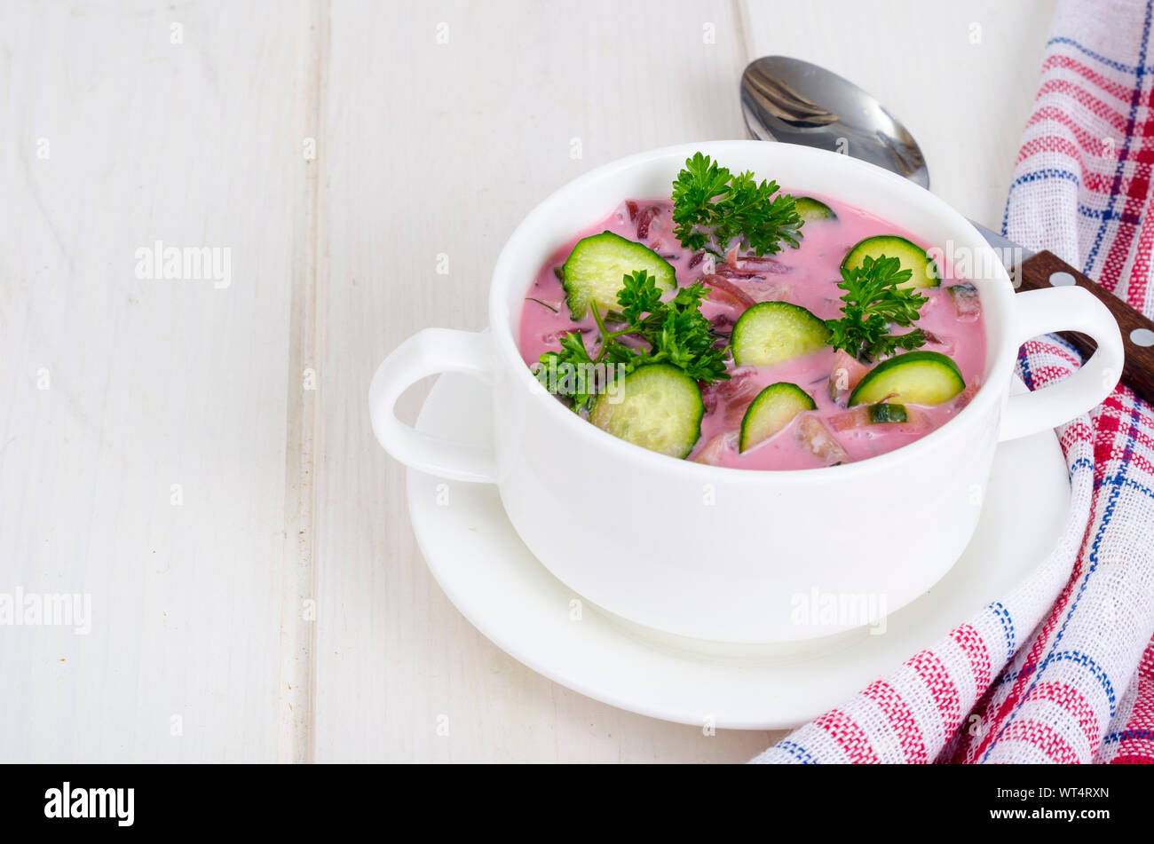 Cold beet soup with cucumbers. Studio Photo Stock Photo