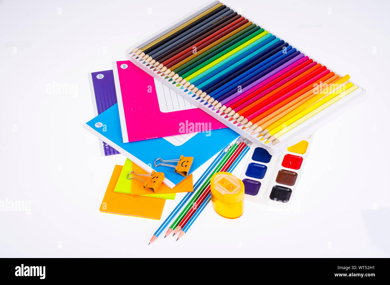 School items and student accessories. Studio Photo. Stock Photo