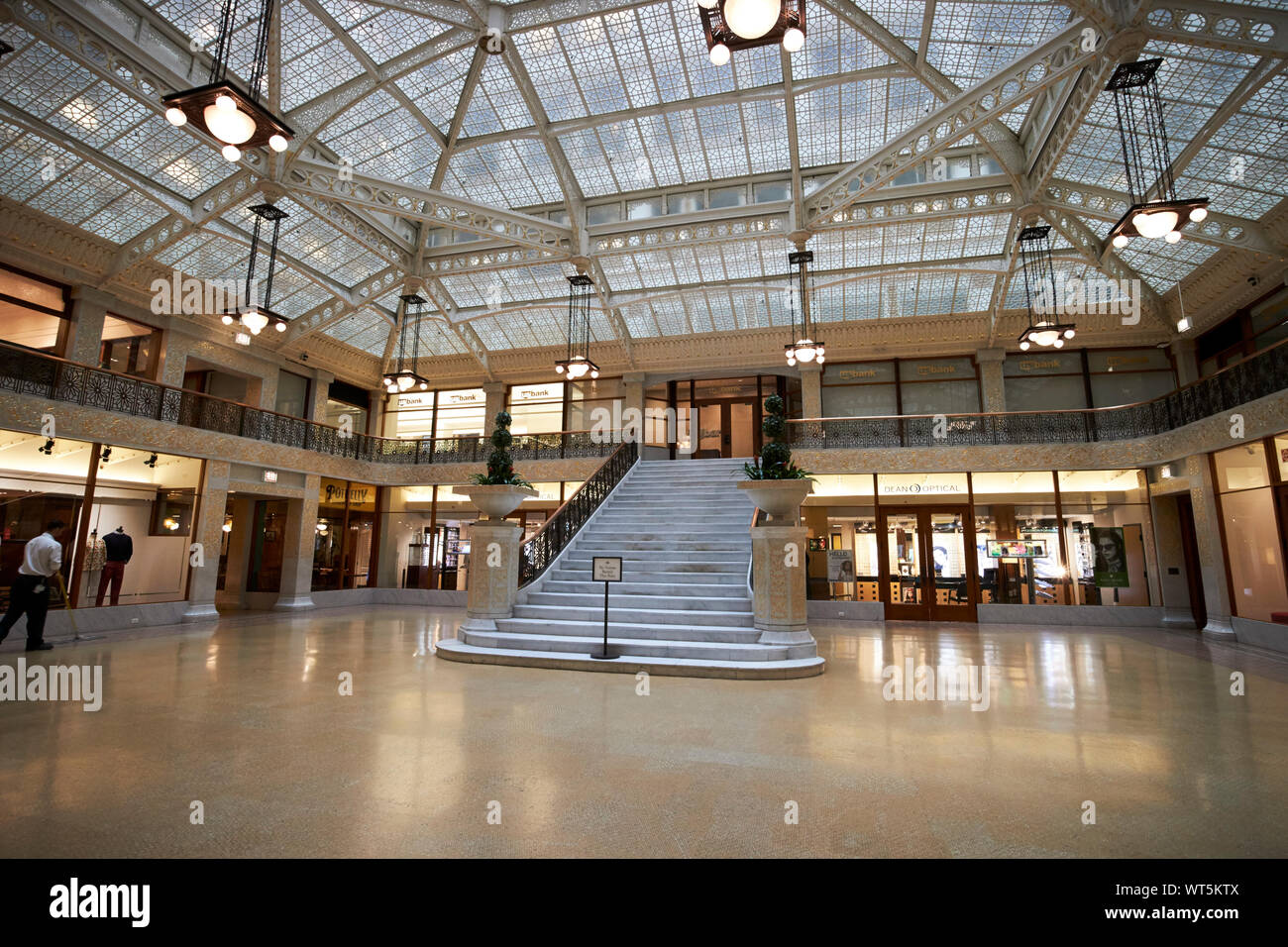 interior atrium of the rookery building Chicago Illinois USA Stock Photo