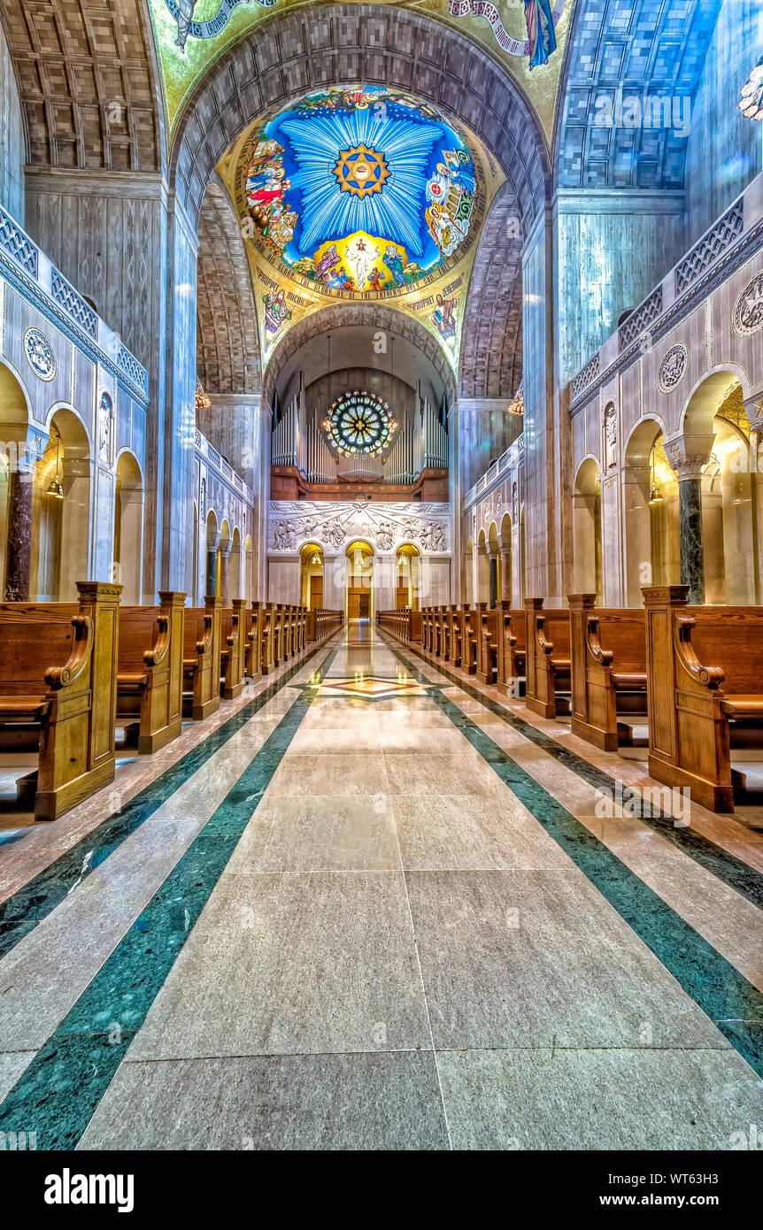Interior of Basilica of the National Shrine of the Immaculate Conception Stock Photo