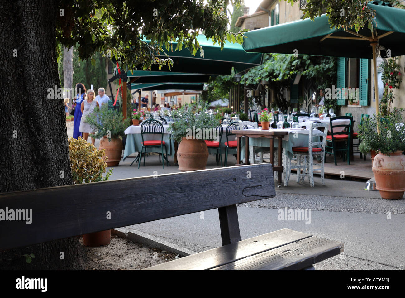 Italy, Tuscany region. Restaurant in a small village Stock Photo