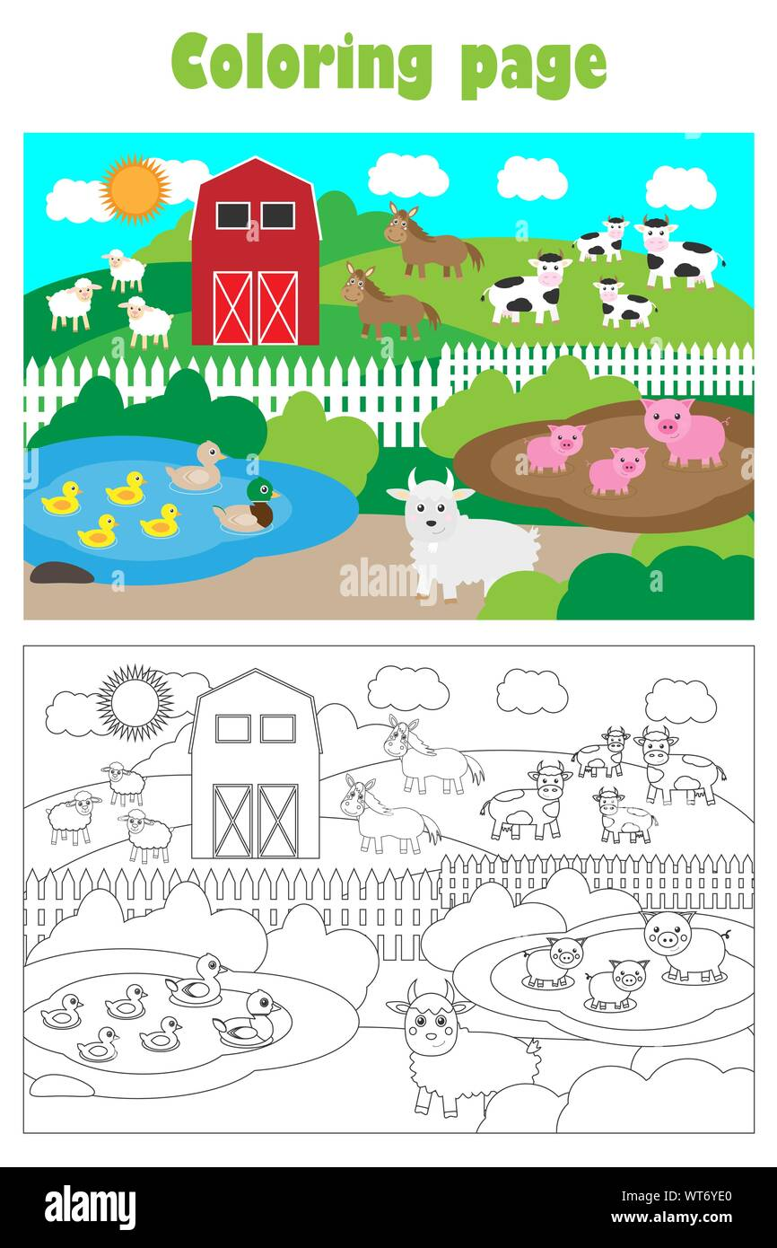 farm with animals cartoon style coloring page education paper game for the development of children kids preschool activity printable worksheet WT6YE0