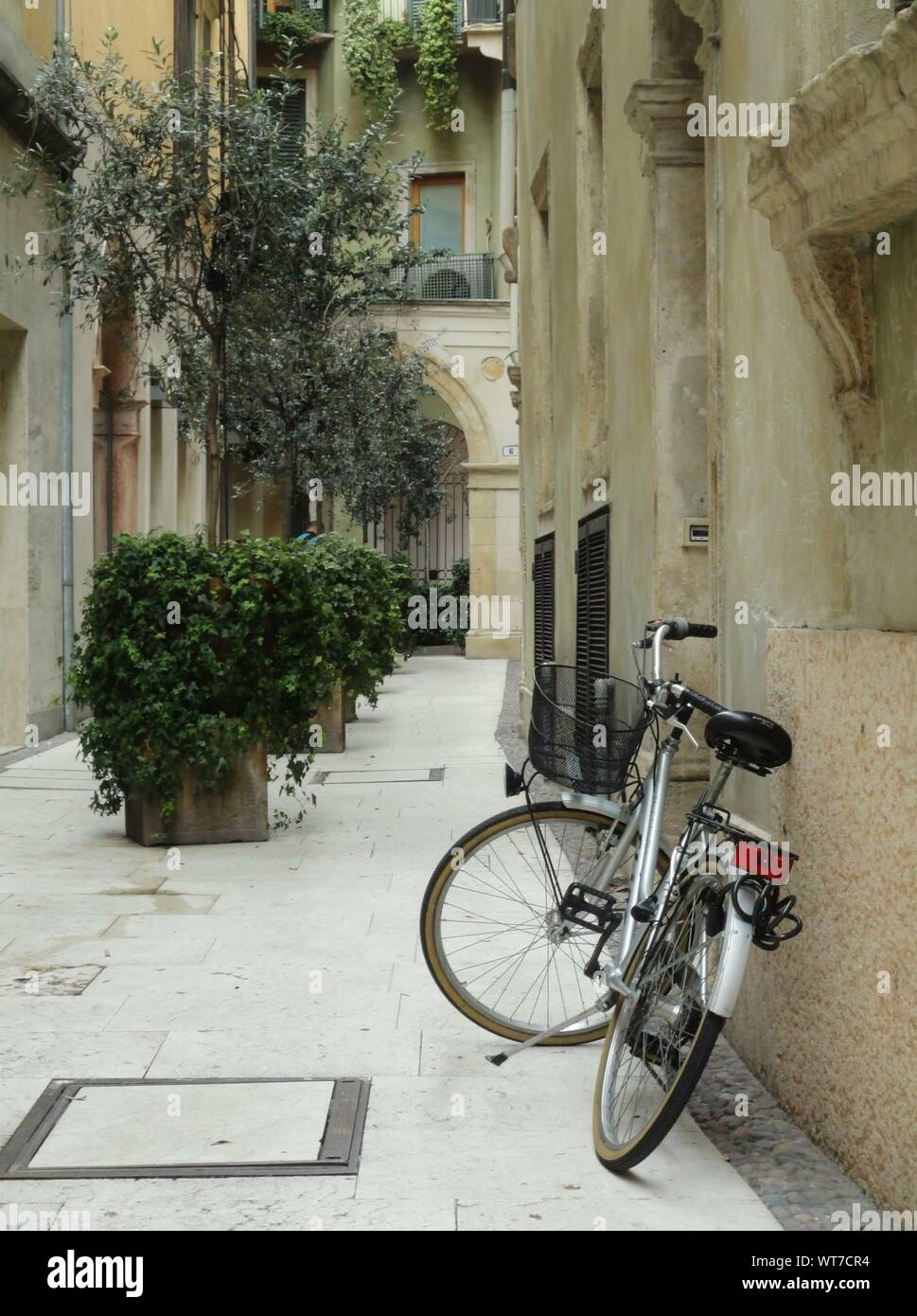 Bicycle Leaning Against Wall In Alley Stock Photo