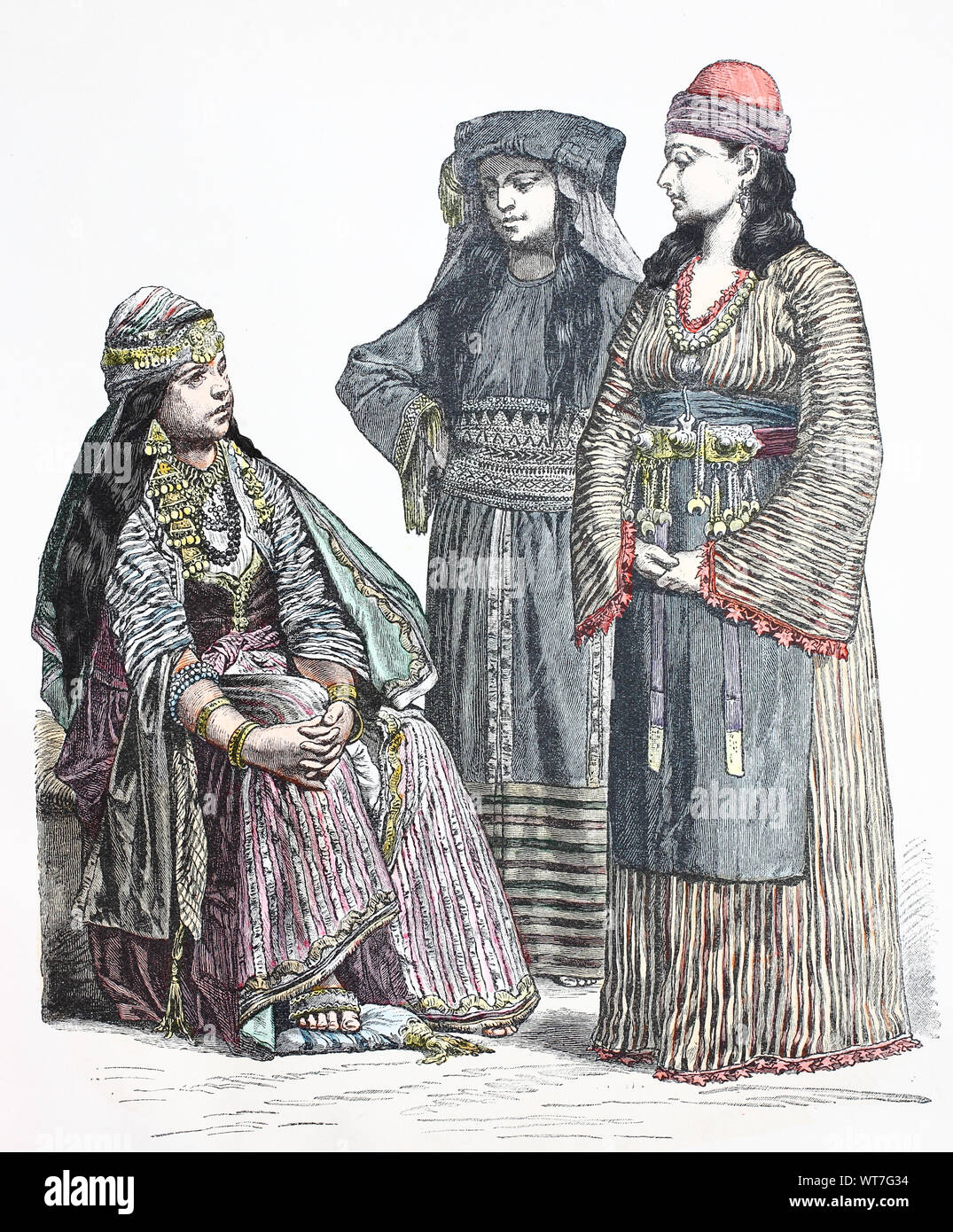 National costume, clothes, history of the costumes, woman from Damascus, Moslem woman from Mecca, Fellahfrau from the surroundings of Damascus, Volkstracht, Kleidung, Geschichte der Kostüme, Frau aus Damaskus, moslemische Frau aus Mekka, Fellahfrau aus der Umgebung von Damaskus Stock Photo