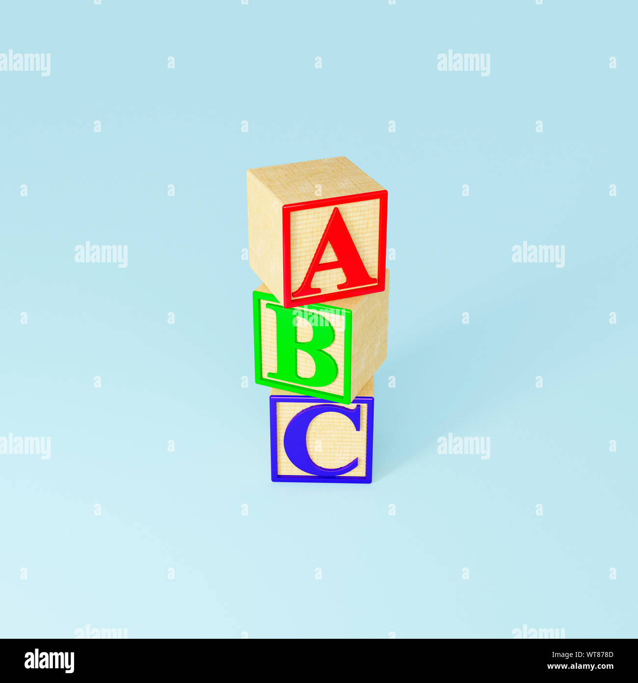 Childrens wooden toys, wooden ABC blocks Stock Photo