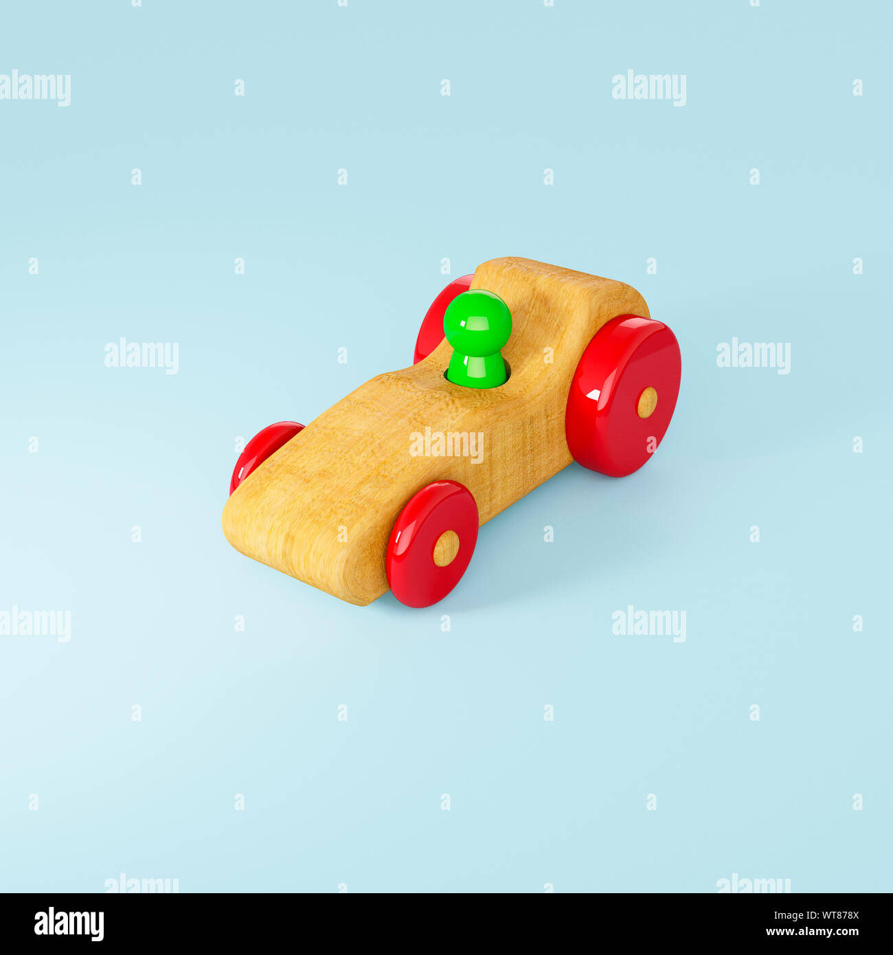 Childrens wooden toys, a wooden racing car and driver toy Stock Photo