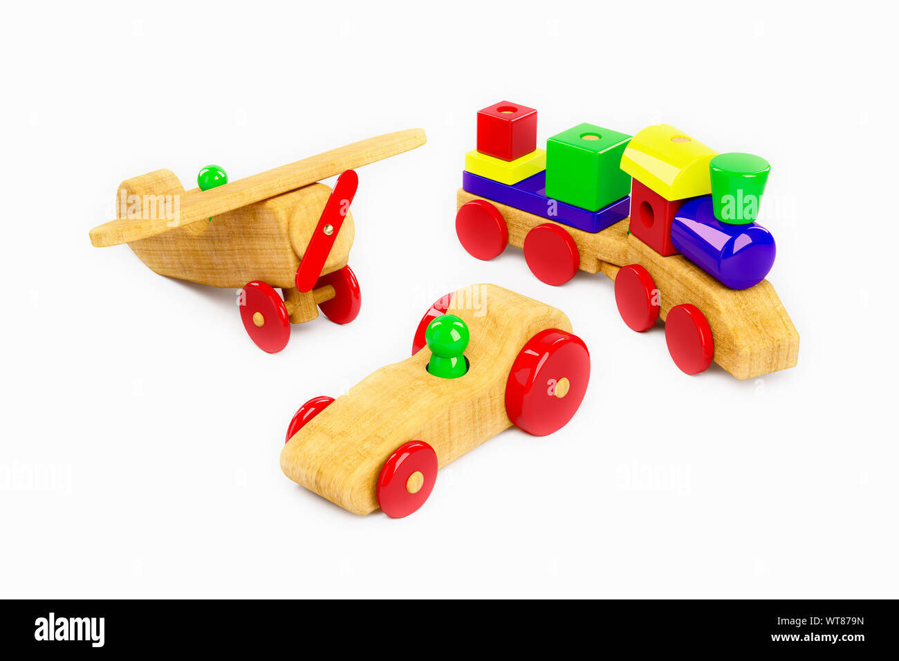 Wooden plane, train and racing car, a selection of childrens wooden toys on a white background Stock Photo