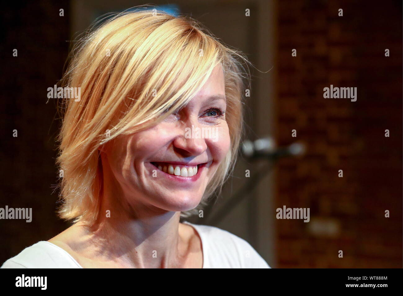 Moscow, Russia. 11th Sep, 2019. MOSCOW, RUSSIA - SEPTEMBER 11, 2019: Actress Ingeborga Dapkunaite during a meeting of the Theater of Nations company ahead of a new season. Sergei Fadeichev/TASS Credit: ITAR-TASS News Agency/Alamy Live News Stock Photo