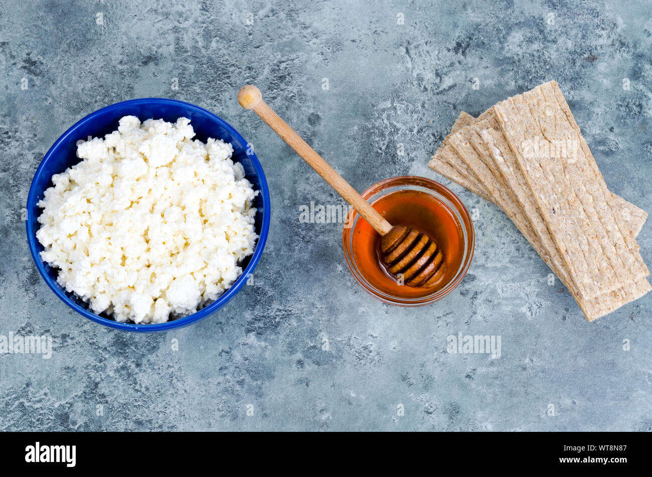 Diet food, cottage cheese and rye bread. Studio Photo Stock Photo