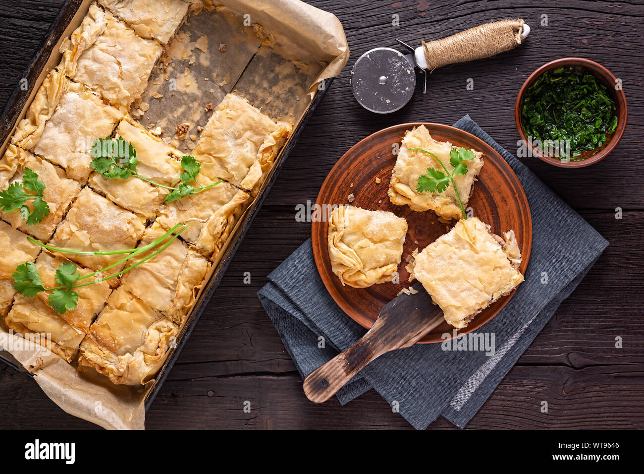 tourtiere, chinese, ground beef, doornail shape, scallion ginger, dough, recipes, keto spicy, cilantro butter,, ginger cilantro Stock Photo