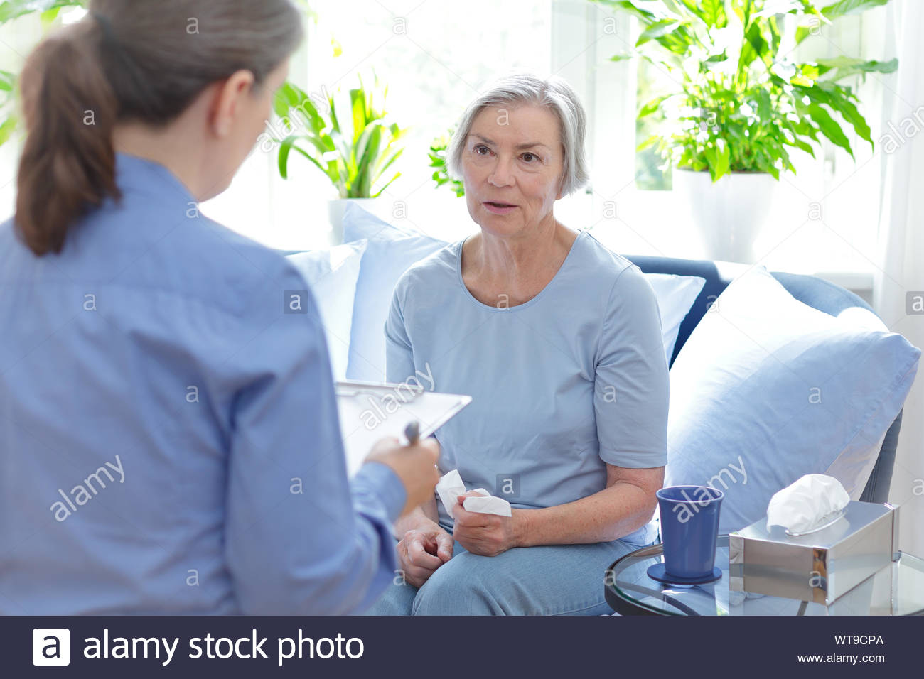 Talk therapy concept: therapist talking with her mature client about her current issues during a counseling session. Stock Photo