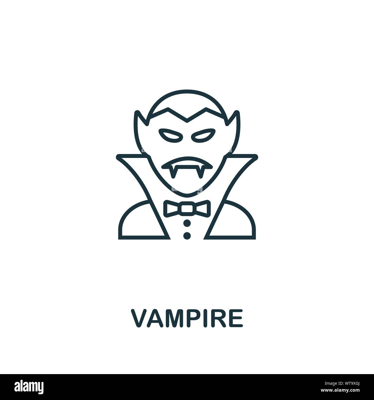 Vampire Outline Icon Thin Line Style From Halloween Icons