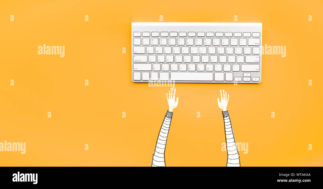 Drawing Man Typing Computer Keyboard On Yellow Color Background Minimal Style Business Modern Life Stock Photo Alamy