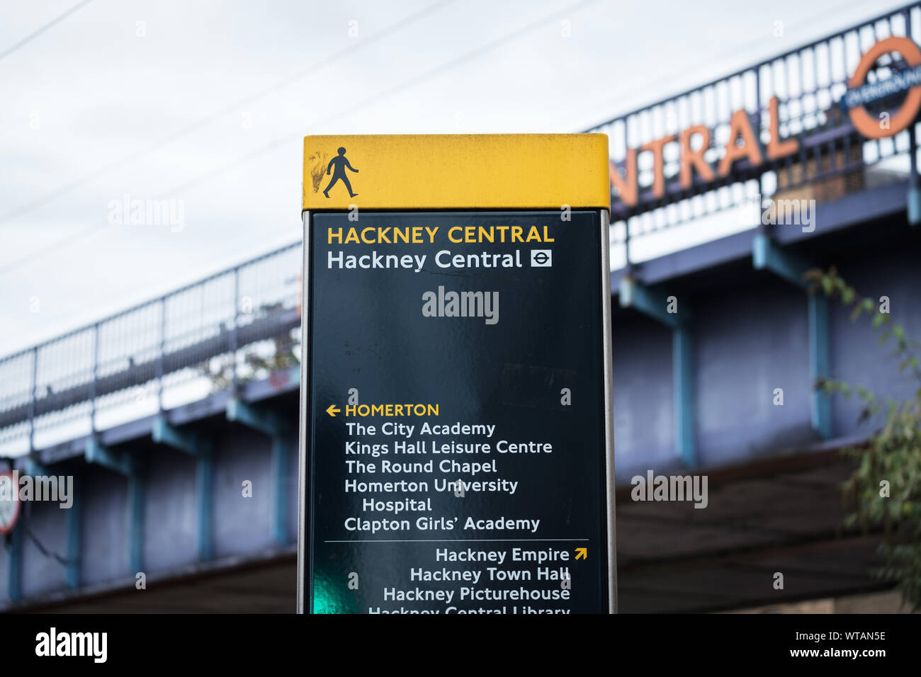 Pedestrian signage at Hackney Central Overground Station for Homerton, Hackney Empire and Hackney Town Hall. East London, UK Stock Photo